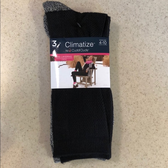 ecd2aacead7 Crew socks 3 pairs black grey Climatize Cuddl Duds